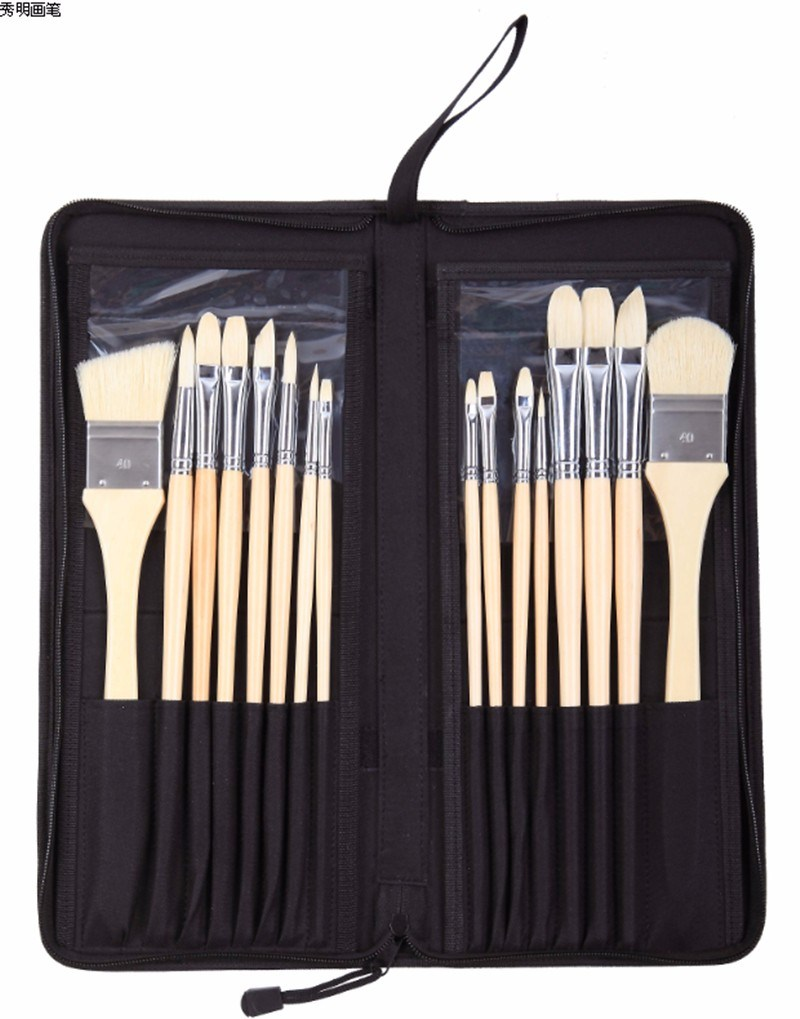 High Quality 2296 Art Brushes Set Bristle Hair Wooden Handle Watercolor Painting Artist Brush