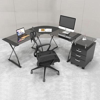 Modern Study Furniture L-Shaped Glass Computer Desk