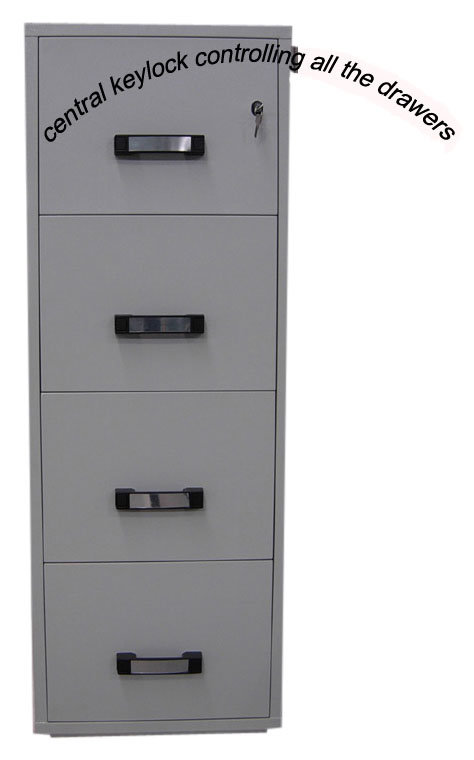 UL 2 Hours Fire Resistant Cabinet (FRD750-II-4001) , 4 Drawers High Tech Vertical Filing Cabinets