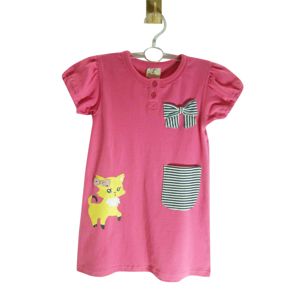 China children s girls cotton knitting fabric dress kids for Children s cotton dress fabric