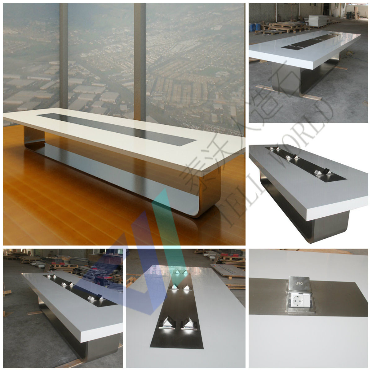 China Modern Black Conference Desk Meeting Table For