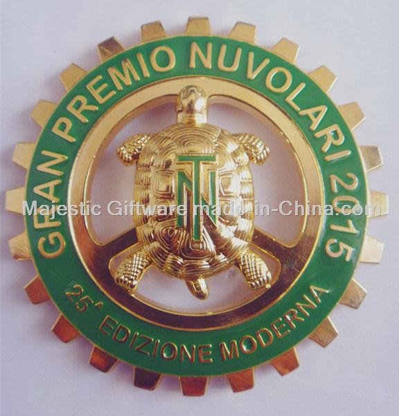 Gold Plated Hard Enamel Car Customized Turtle Badge