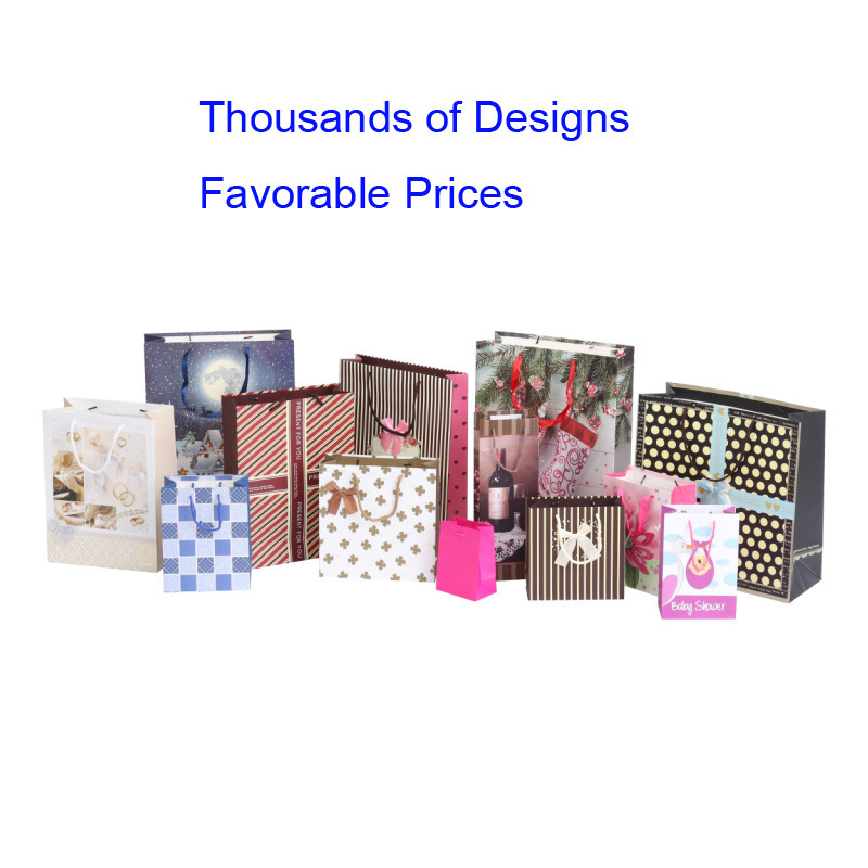 Custom Logo Design Printed Gift Packaging Paper Shopping Carrier Bags