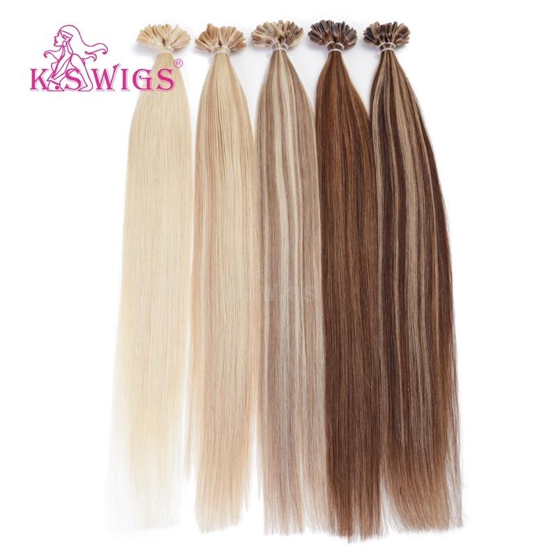 K. S Wigs 6A Indian Remy Virigin Human Hair U-Tip Hair Extensions