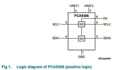 Integrated Circuit Voltage-Level Translator IC PCA9306DC
