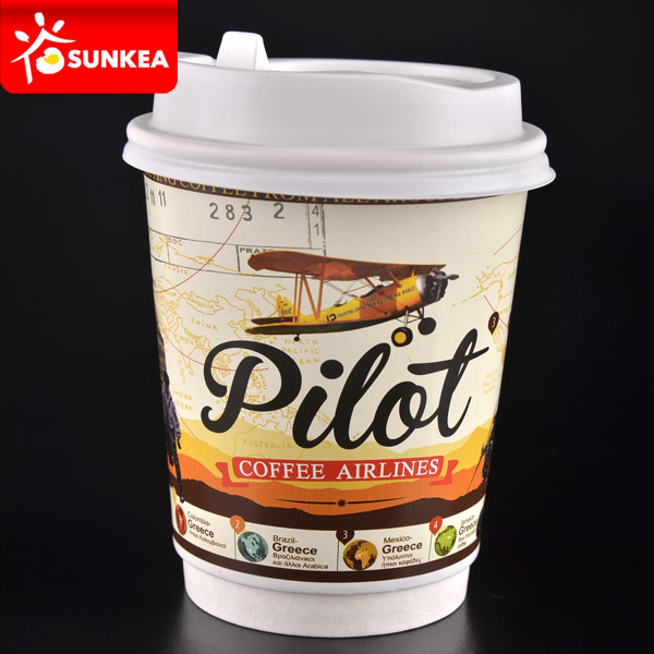 Custom Logo Printed Hot Tea / Coffee Paper Cup