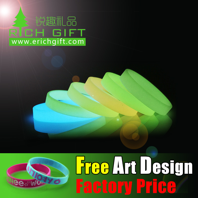 Factory Cheap Glow in The Dark Custom Silicone Wristband Laser Engraving