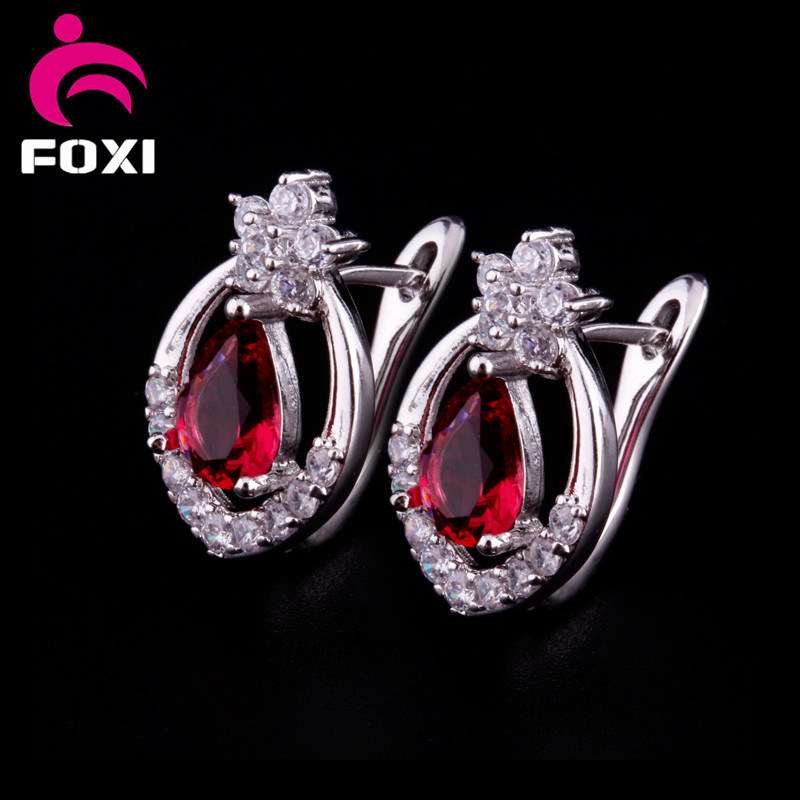 Red Stone AAA Cubic Zircon White Gold Plated Cuff Earring