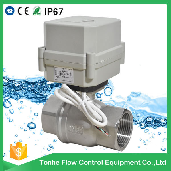 "Dn32 1 1/4"" DC12V/24V Stainless Steel 304 Electric Ball Valve 316 Valve"