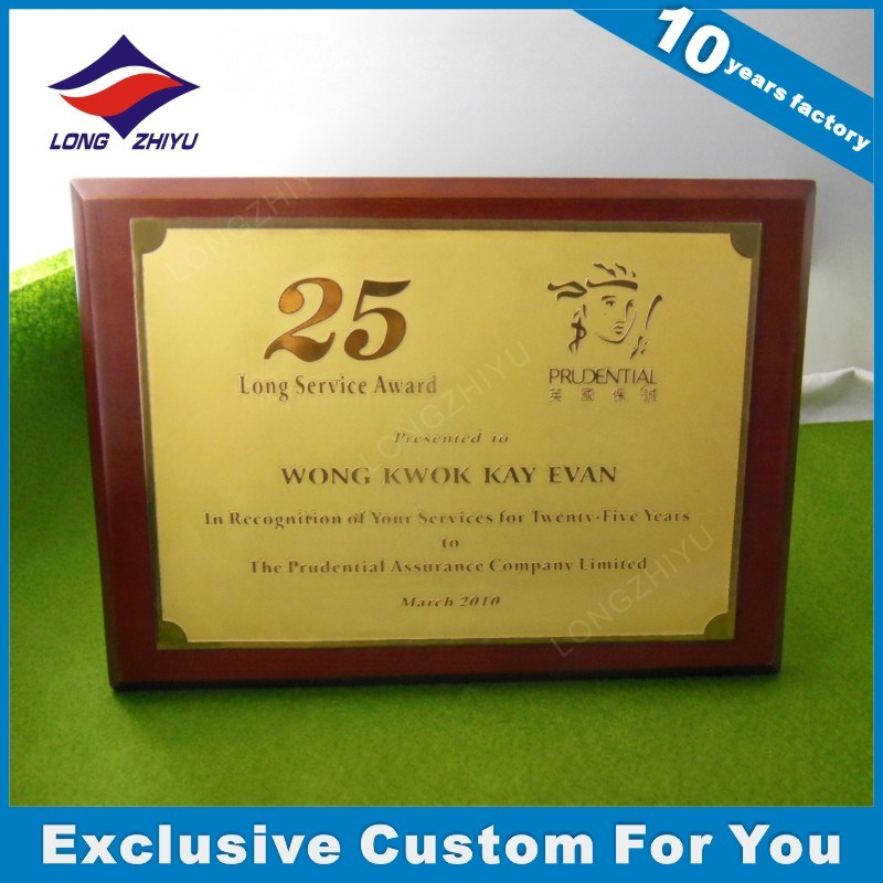 Wholesale Smooth Metal +MDF Wooden Shield Plaque Medal /Trophy