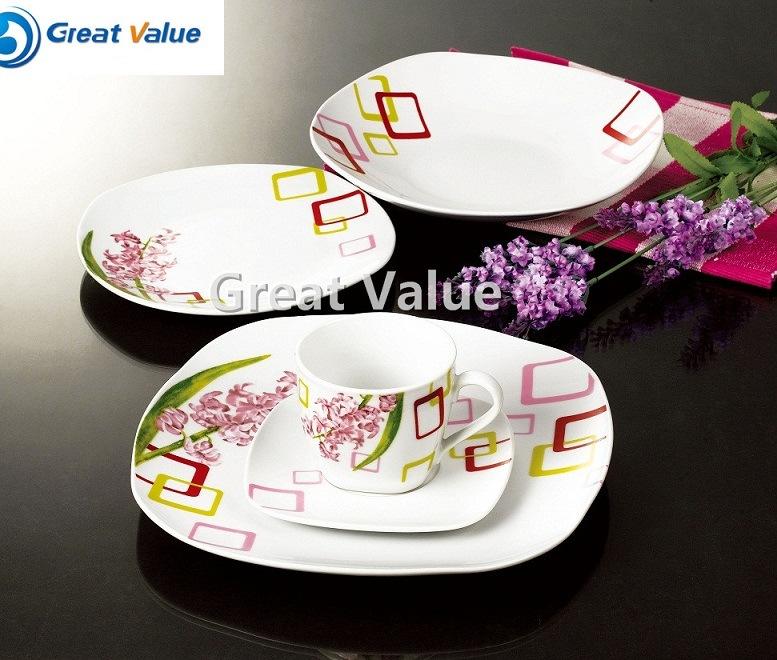 20PCS Square Porcelain Dinner Set Dinnerware