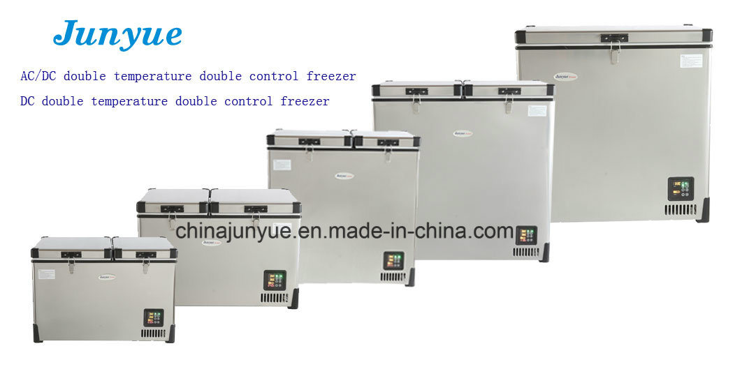 DC Horizontal Freezer Horizontal Refrigerator Portable Refrigerator Freezer Camping Fridge Freezer Stainless Steel Fridge