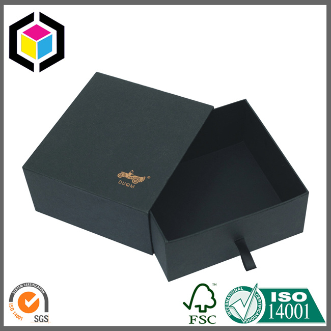 Luxury Gold Logo Black Color Gift Jewelry Paper Box