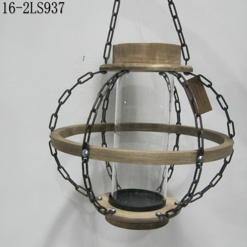 Antique Wooden with Iron Chain of Vintage Lanterns