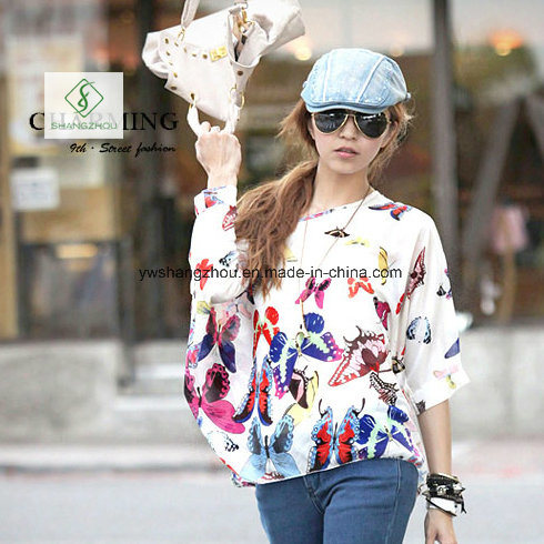 New Design Chiffion Batwing Loose Women Shirt Factory Direct