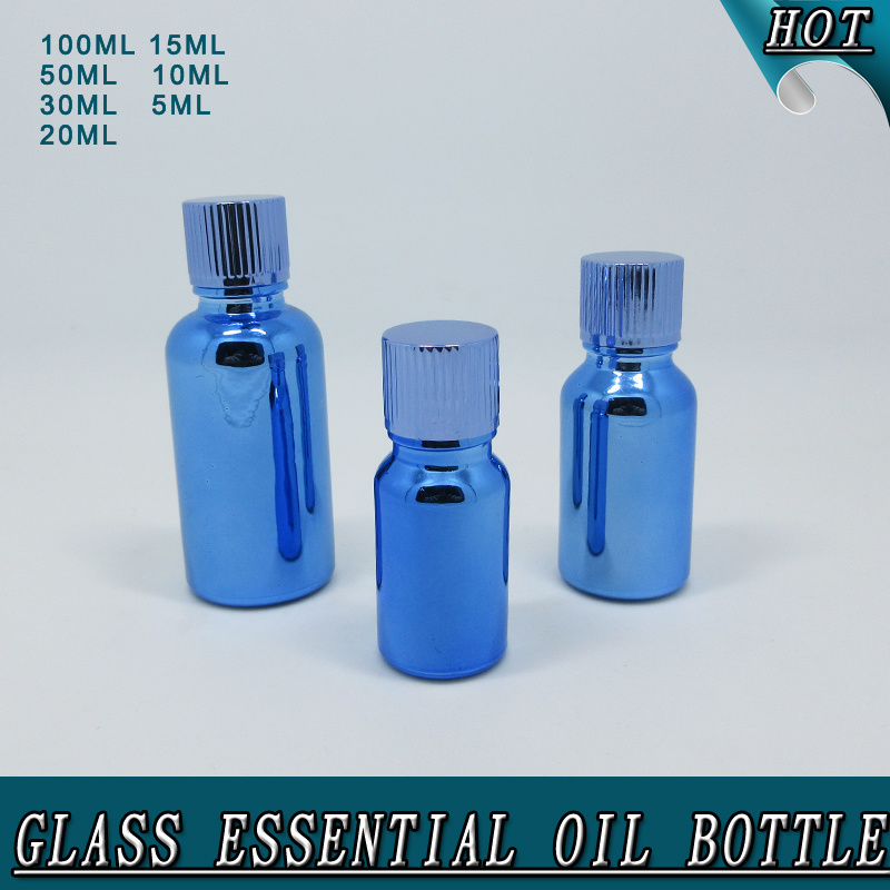 High Quality Electroplated Blue Glass Essential Attar Oil Bottle