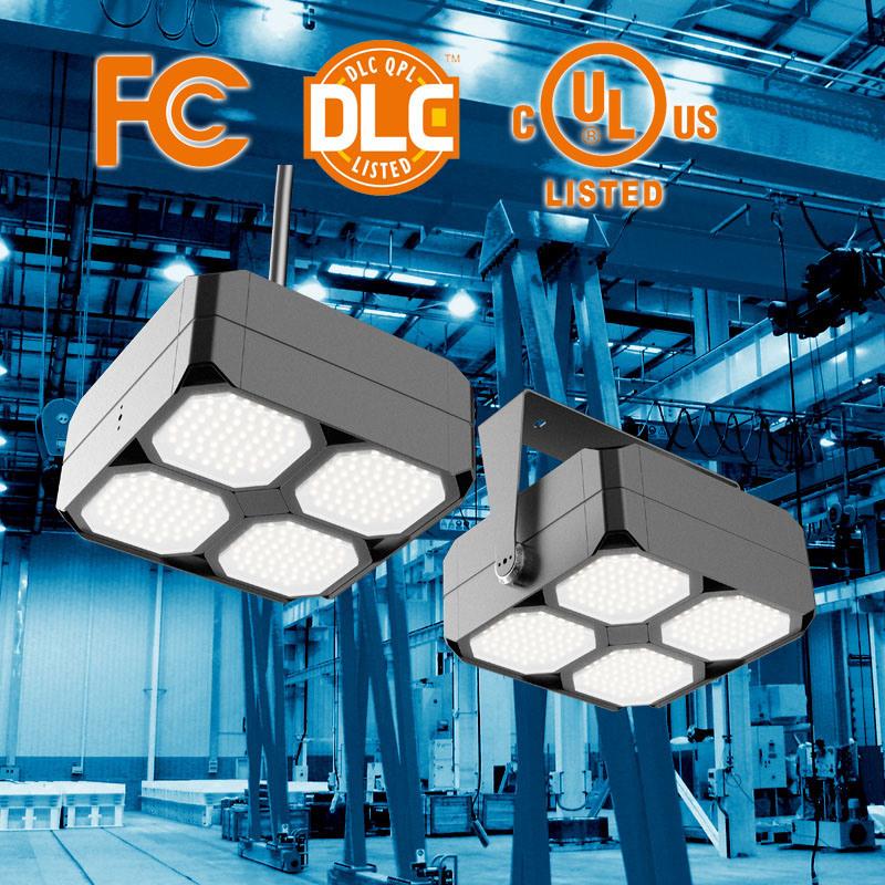 UL Dlc LED Square Highbay Light, 40-320W, 0-10V Dimmable