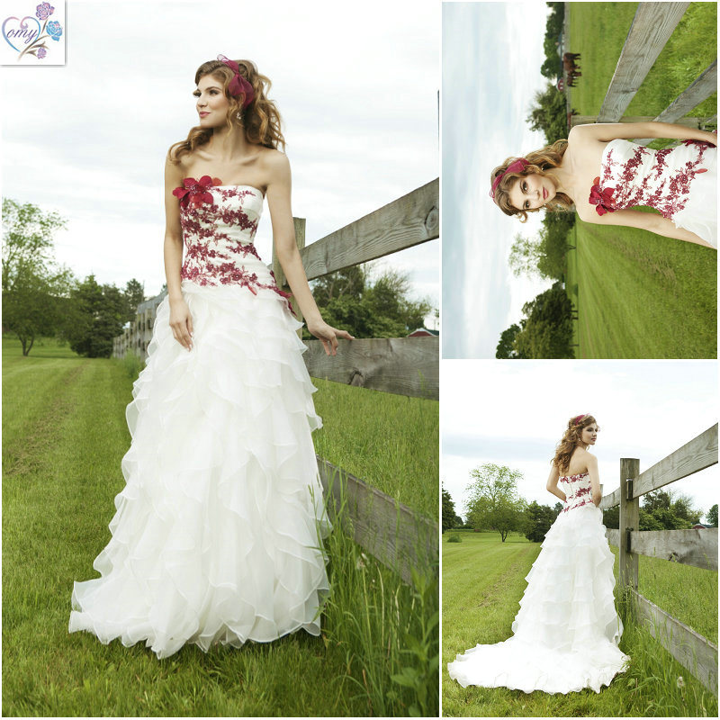 Lace Applique Red and White Chiffon Wedding Dresses WD052