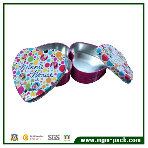 Heart-Shaped Package Tin Box for Gift and Storage
