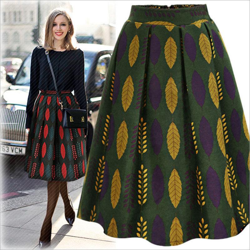 Fashion High-Waist Floral Leavies Full Skirt