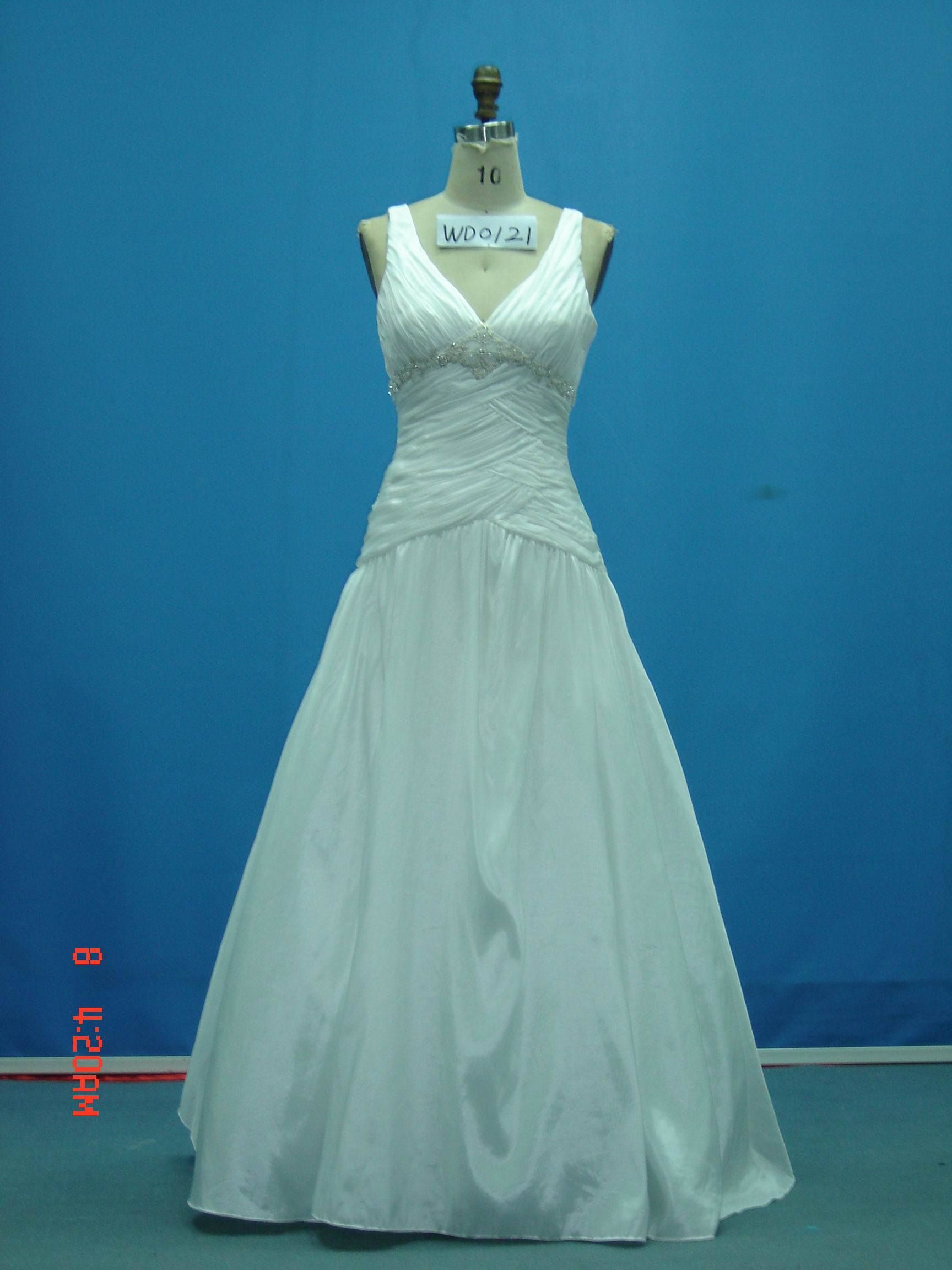 Real Sample Beaded Taffeta off Shoulder Wedding Gowns (WD0121)