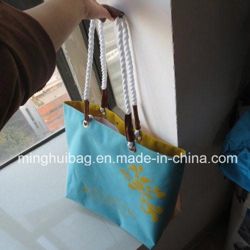 Promotional Stripe Printing Tote Beach Bag for Ladies