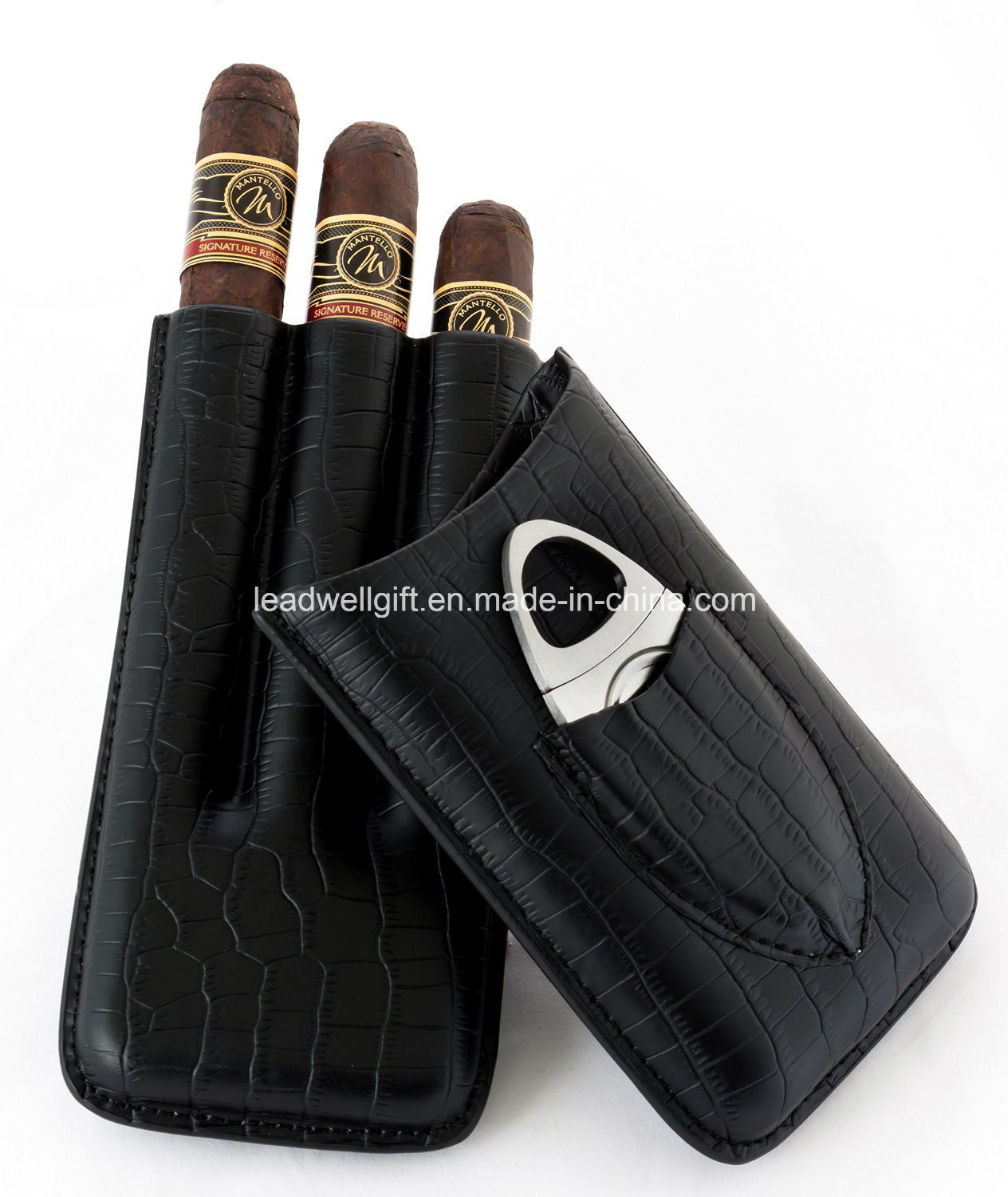 Black Genuine Leather Cigar Case with Cutter
