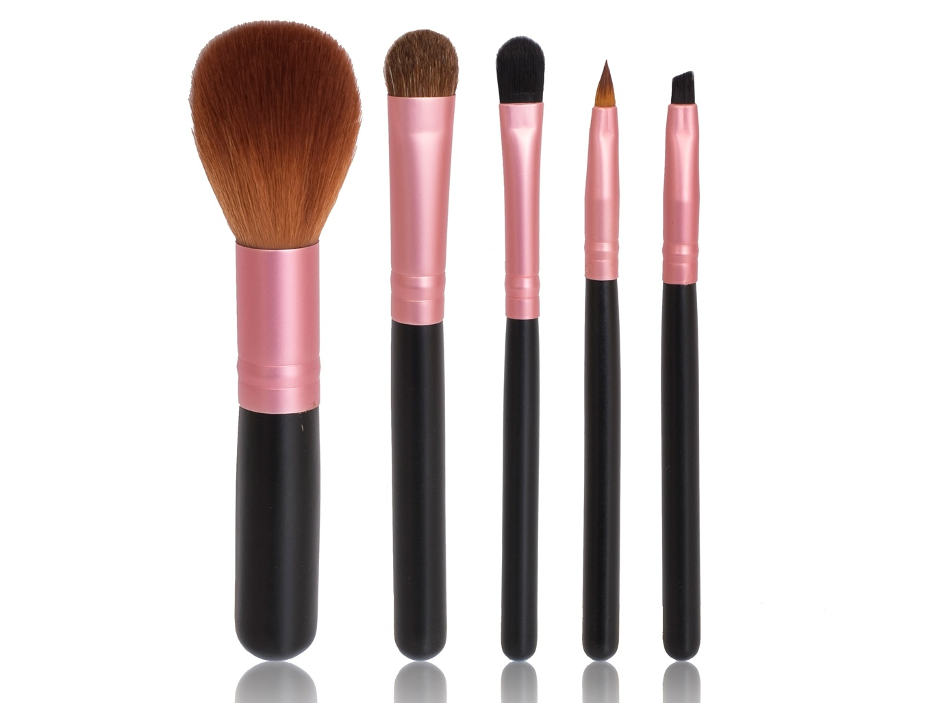 5PCS Mini Makeup Brush Set with Pink Ferrule