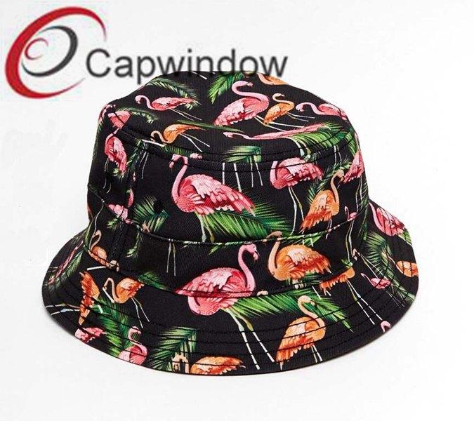 Red Crowned Crane Printed Promotonal Fashion Leisure Fisherman Bucket Hat