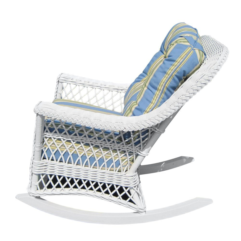 Well Furnir Wicker Rocker Chaise Lounges with Braided Trim