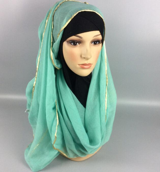 Muslin Cotton Scarf Shawl Gold Edge Muslim Hijab Head Covering Scarf