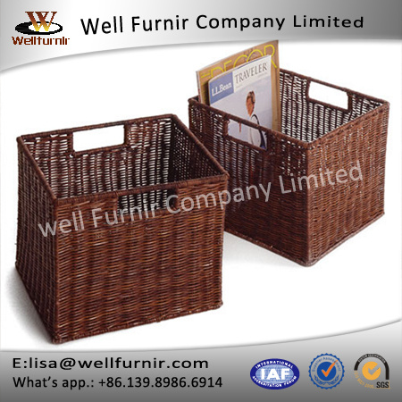Well Furnir Household Storage Wicker PE Baskets with 2 Handle Easy Portable
