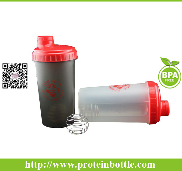 Adults Outdoor Plastic Shaker Bottle with Wire Mixer