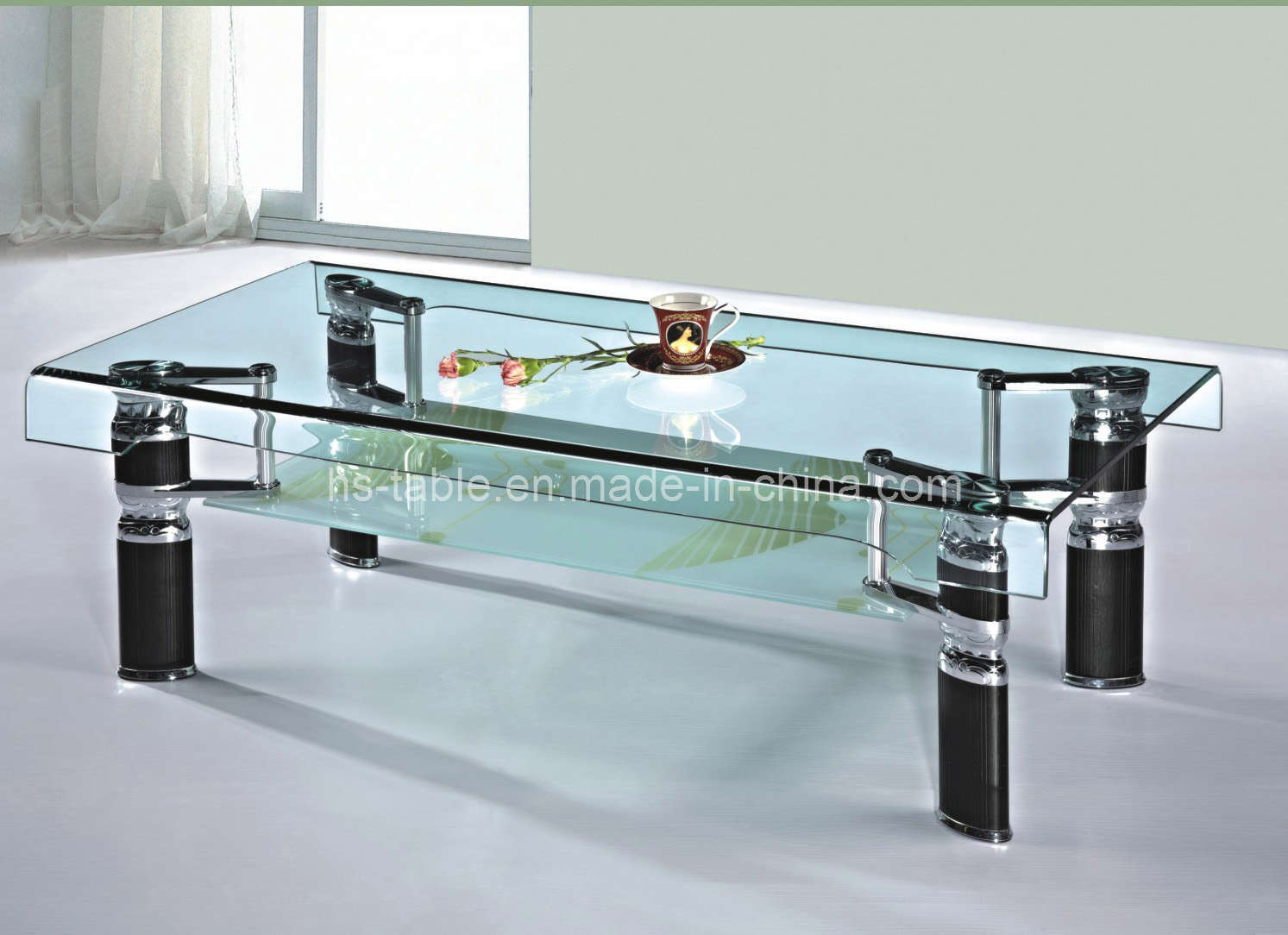 China bended glass coffee table living room furniture - Glass tables for living room ...