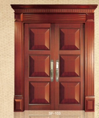 China double swing wooden door sf103 china wooden door for Double door wooden door