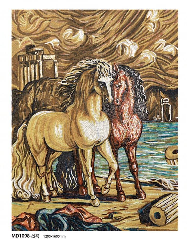 Horse Painting Art Hand-Made Mosaic Picture Mosaic Tile