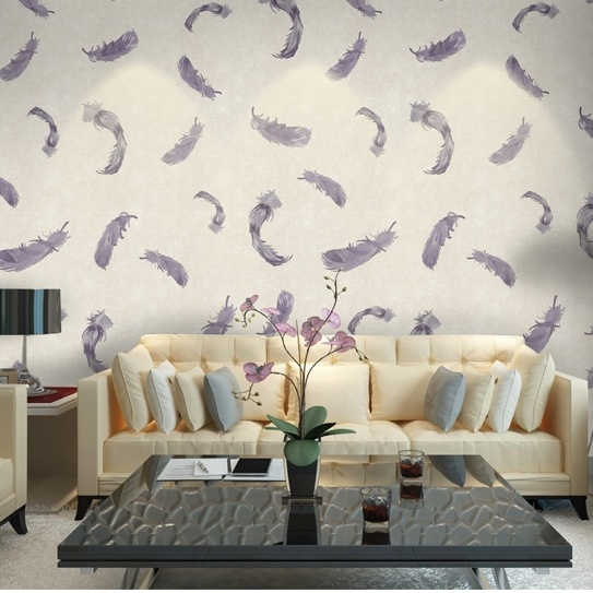 Seamless Classic Luxury Feather Embossing Wallpaper Fabric Hotel Bedroom Livingroom