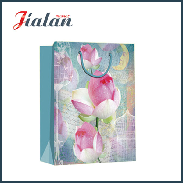 Retro Series with Lotus Flowers Shopping Carrier Gift Paper Bag