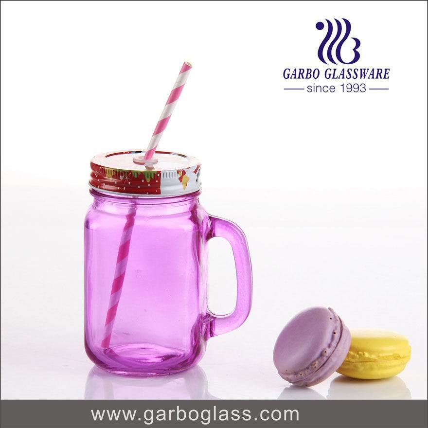 450ml Colored Glass Manson Jar with Cover and Straw