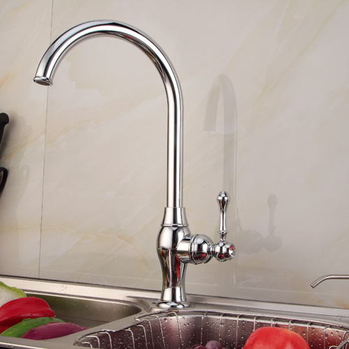 Antique Single Handle Kitchen Faucet with Chrome Finish