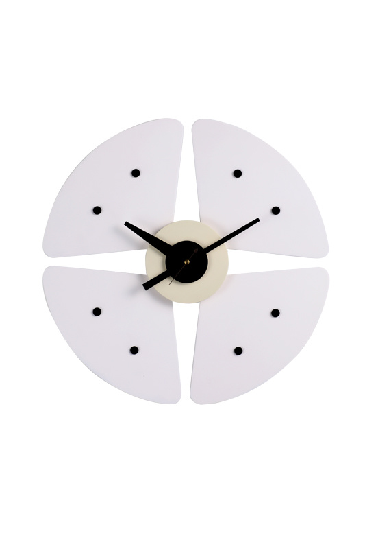 White Petal Black DOT Wall Clock