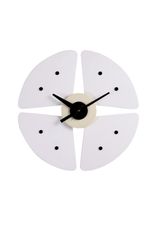 White Petal Black DOT Wall Clock