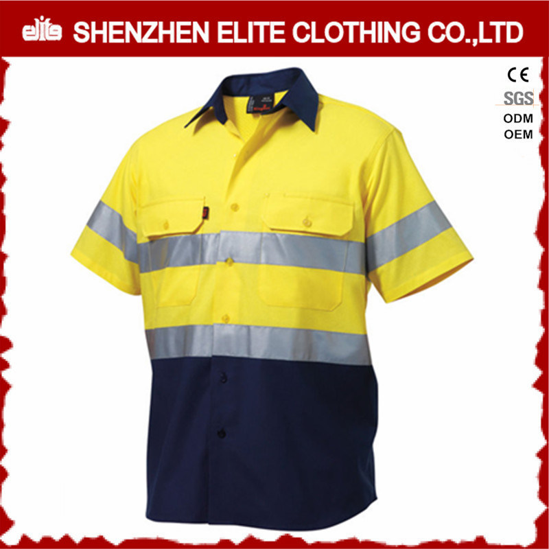 Two Tone Hi Vis Cotton Drill Short Sleeve Work Shirt