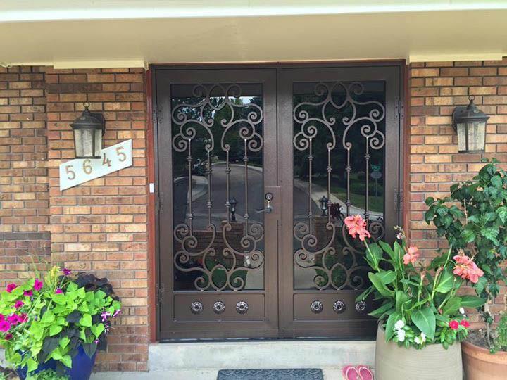 Exterior Decorative Wrought Iron Security Door