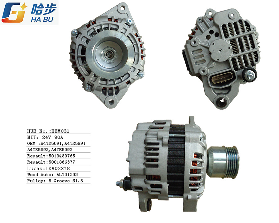 Auto Alternator for Renault Trucks 24V 90A A4tr5091, A4tr5092, A4tr5093