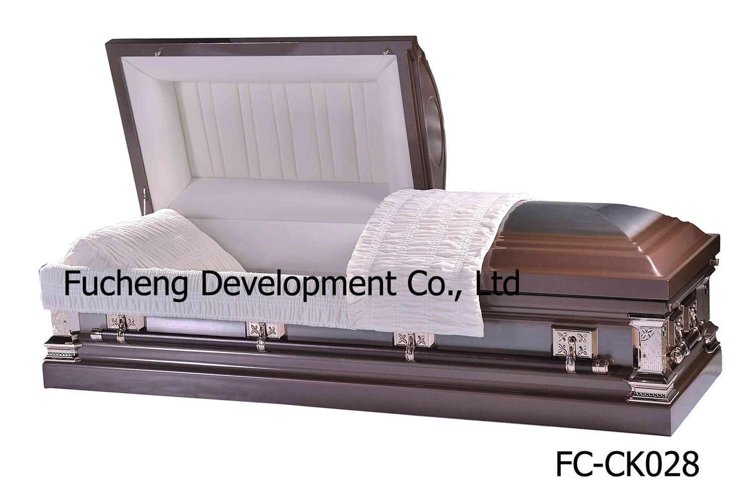 18ga American Style Steel Metal Funeral Caskets Coffin - Black Brushed Natural Finish & White Velvet Interiors (FC-CK027)