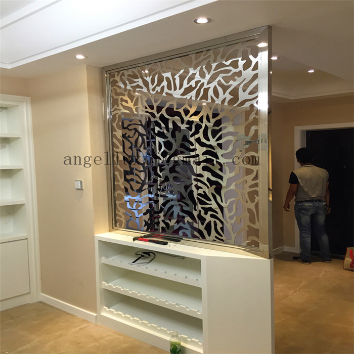 Villa Living Room Divider Screen Landing Partition Satin Or Mirror Color Finish Stainless Steel