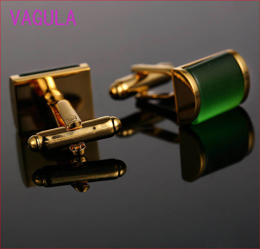 VAGULA High Grade Catseye Cuff Links Gold Cuff-Links Onyx Cuffs French Shirt Gemelos Cufflinks