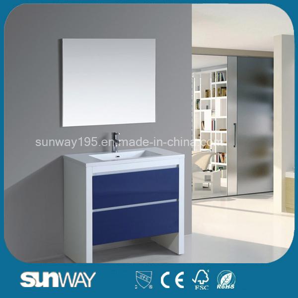 Hot Sale Floor Standing MDF Bathroom Cabinet with Mirror