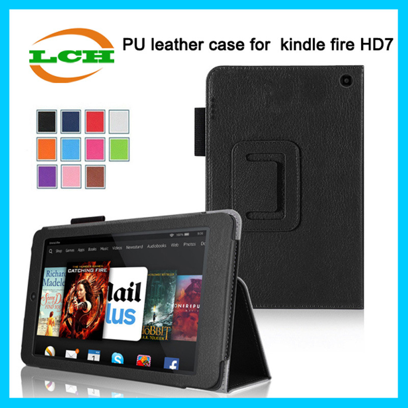 Litchi Stria Leather Case with Holder for Kindle Fire Hdx